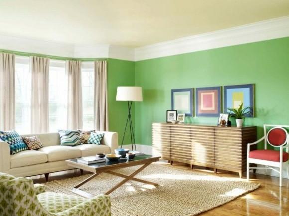 idée couleur salon mur vert