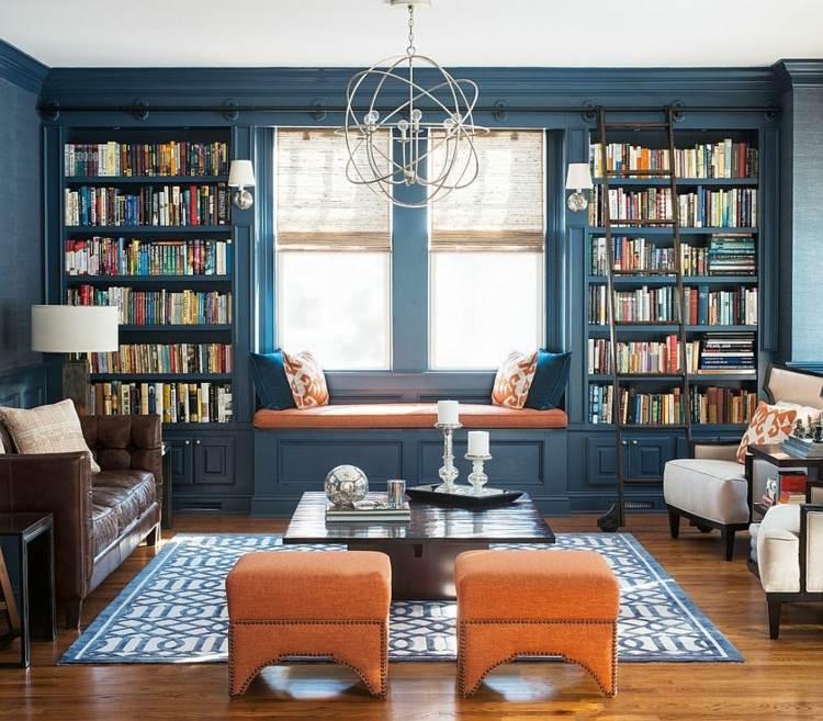 idee deco salon bleu bibliotheque