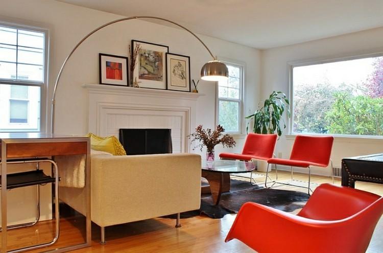 idee deco salon fauteuils rouge
