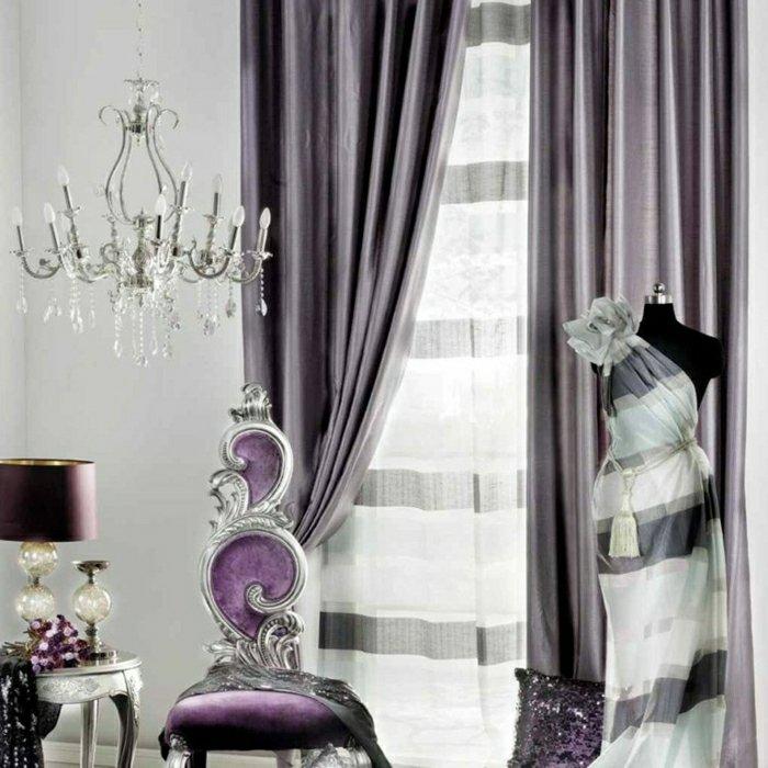 Rideaux modernes salon elegant couleur violette