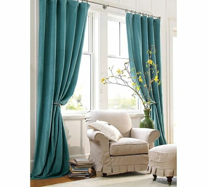 rideaux modernes couleur bleu