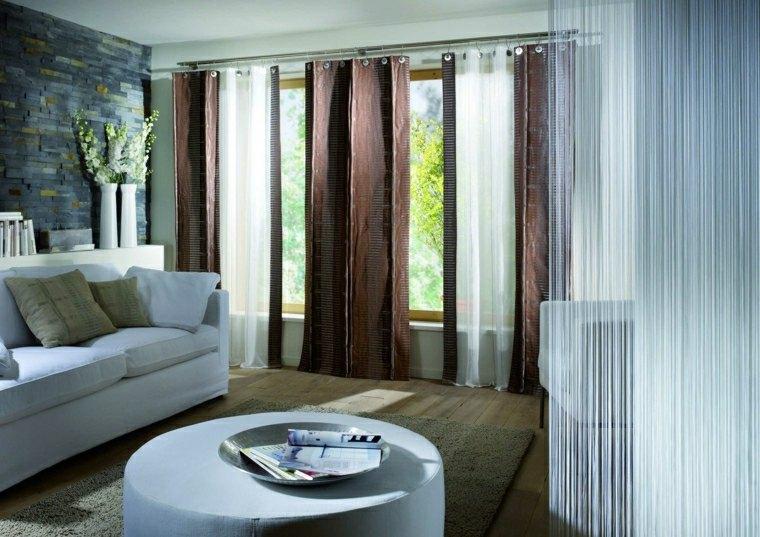 rideaux modernes salon couleur foncee