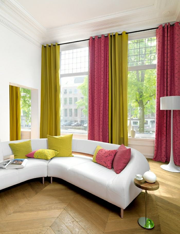 rideaux modernes salon couleurs differents