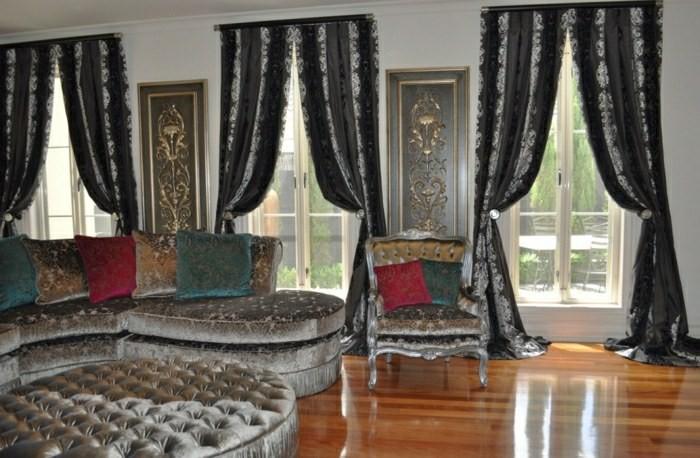 rideaux noir style royale