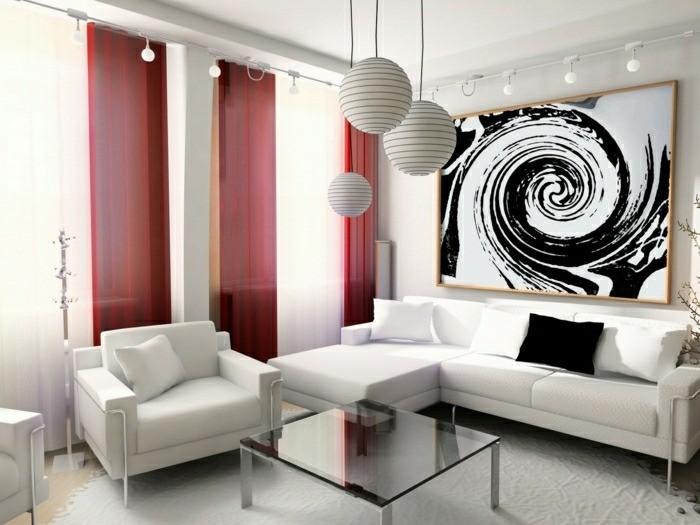 salon design moderne rideaux rouge