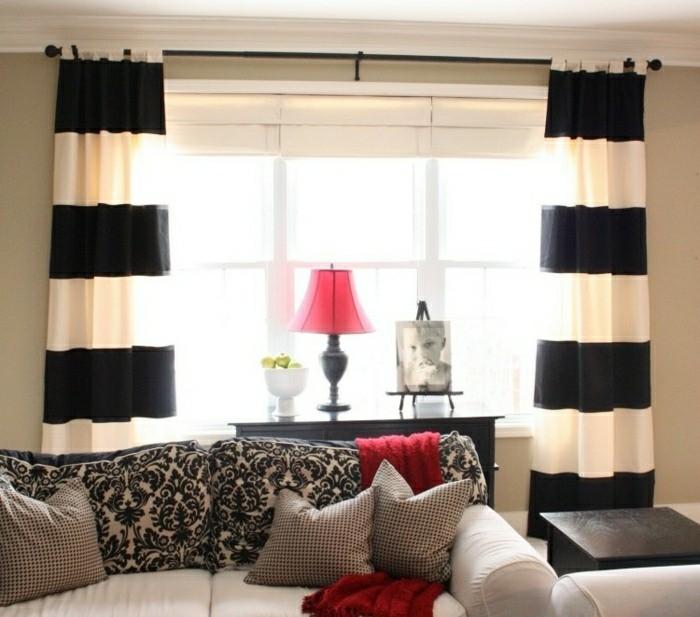 rideaux salon rayure noir blanc horizontale