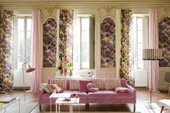 idée couleur salon deco motifs floraux