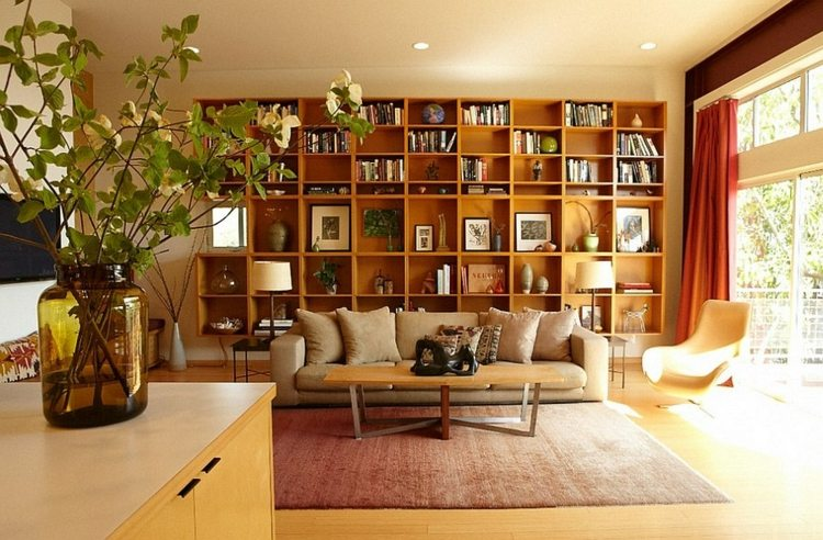 salon design bibliothque bois