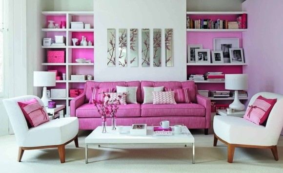 idée couleur salon design blanc rose