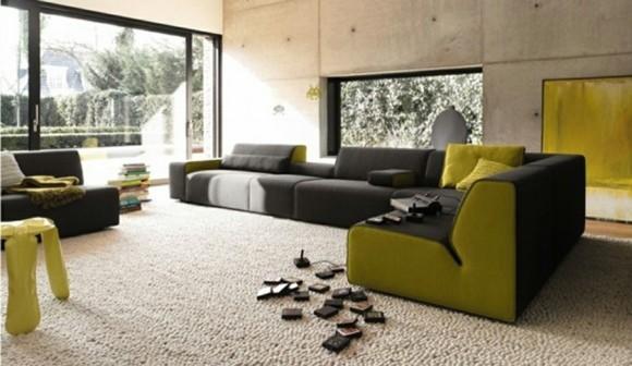 idée couelur salon design gris vert