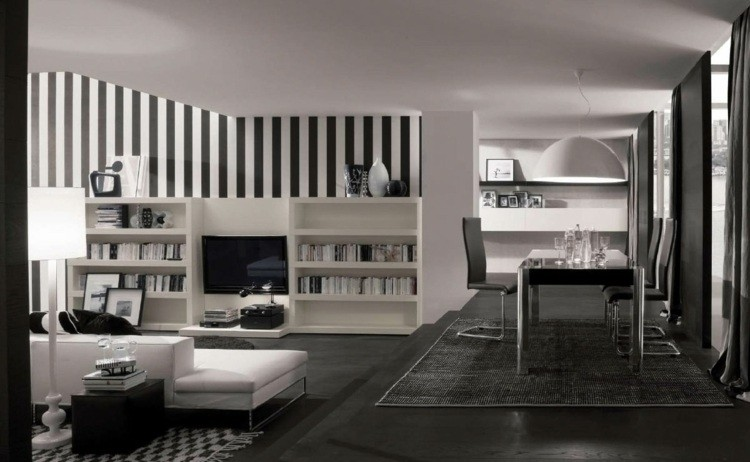 salon design minimaliste noir blanc