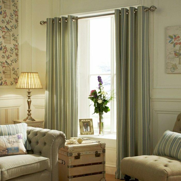 salon elegant rideaux rayures