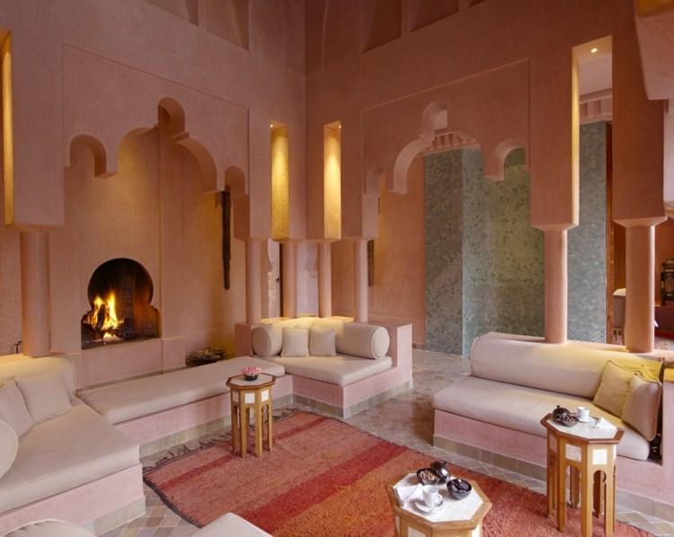 salon marocain nuances rose