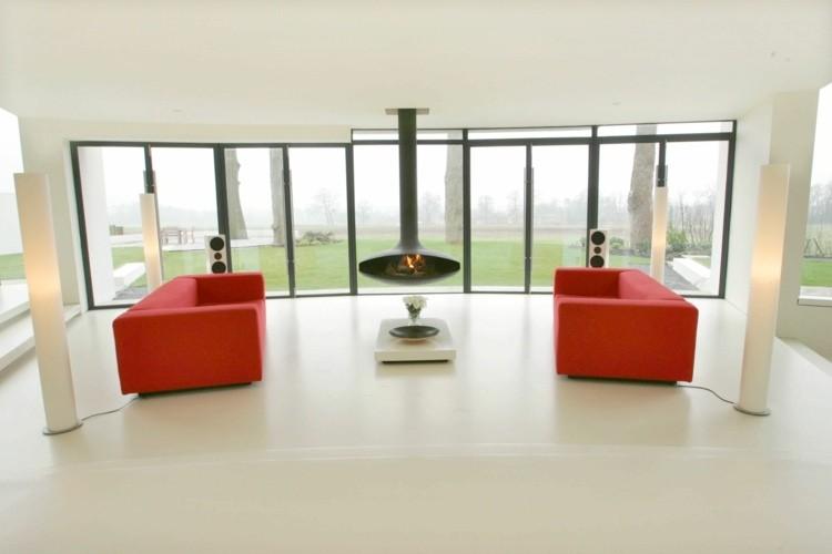 salon design cheminéee deux canapés