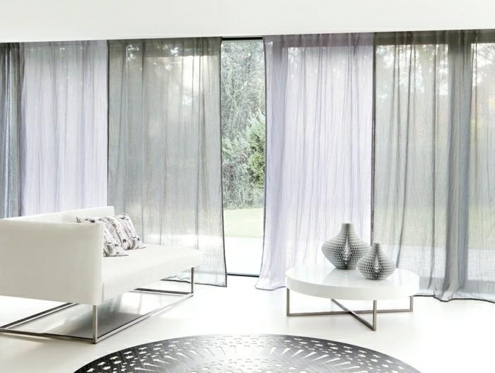 salon minimaliste couleurs pales rideaux legers