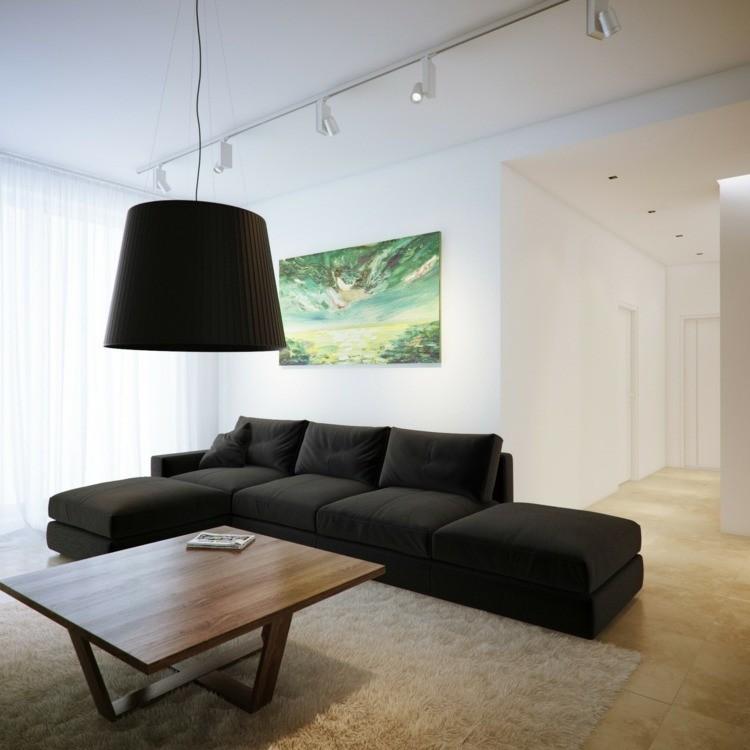 salon minimaliste grand canape noir