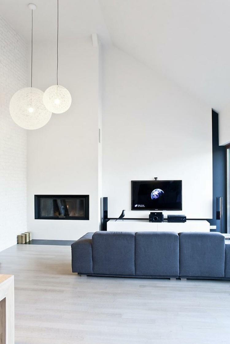 salon minimaliste moderne blanc bleu