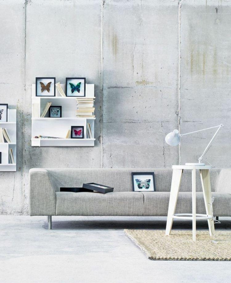 salon minimaliste moderne mur beton