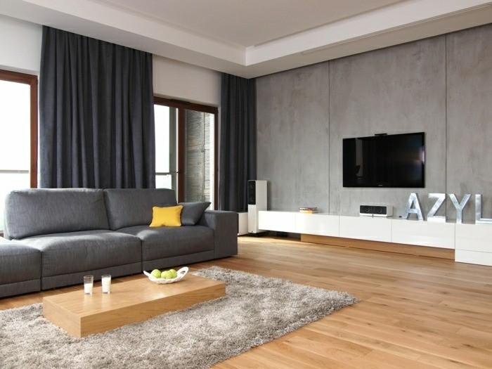salon minimaliste moderne sol table basse bois