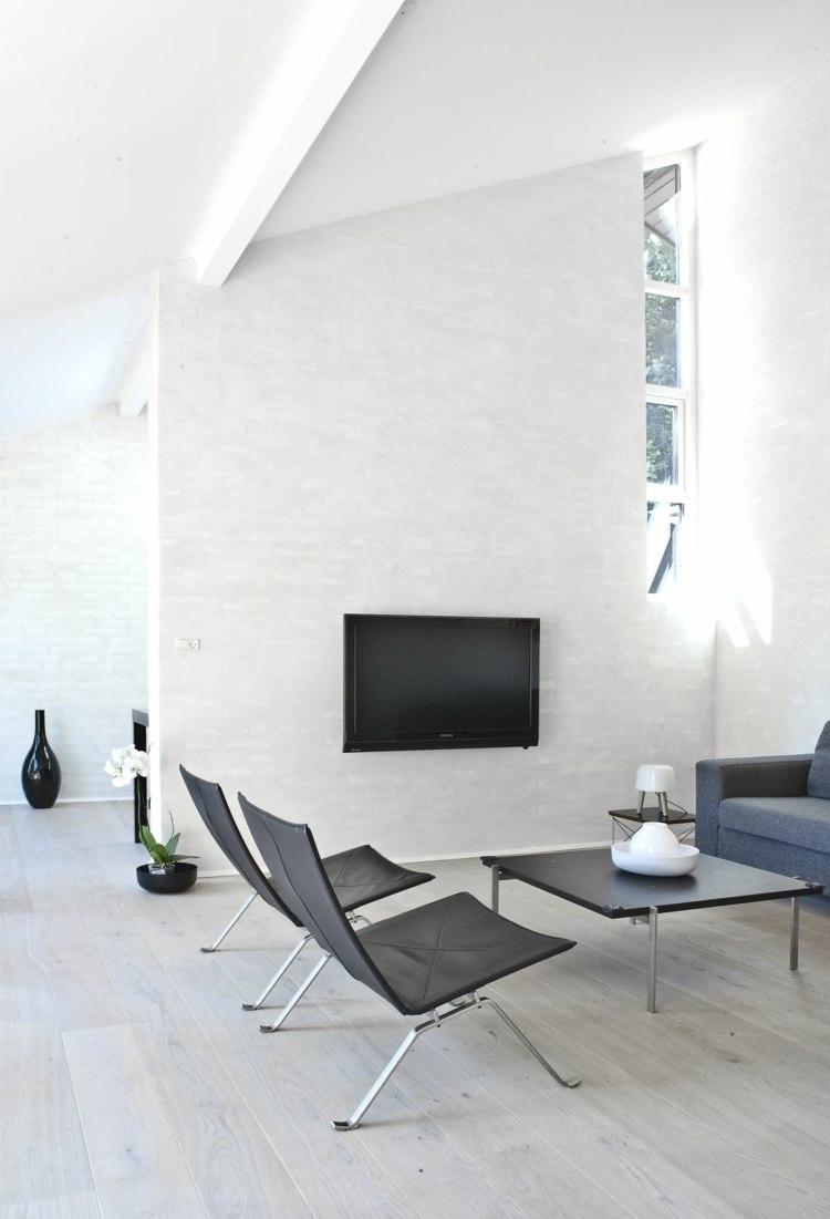 salon minimaliste noir blanc