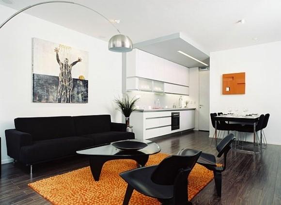 salon moderne blanc noir orange