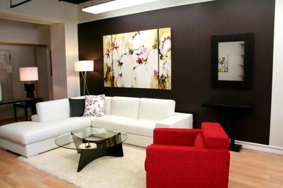salon moderne couleurs contrastantes