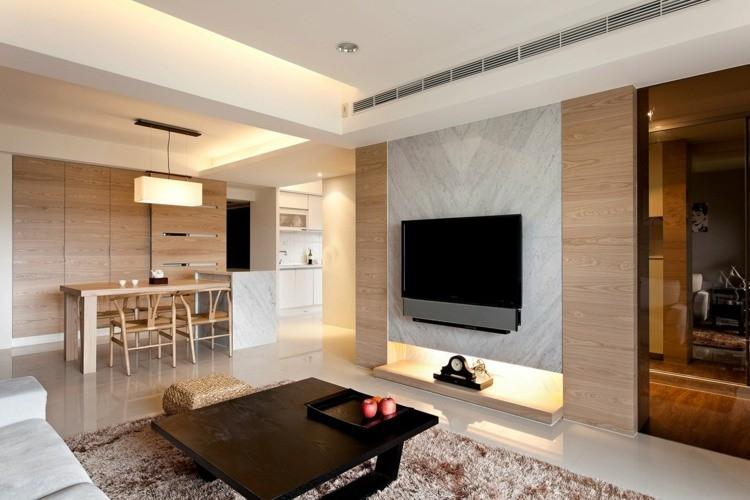 salon moderne deco bois