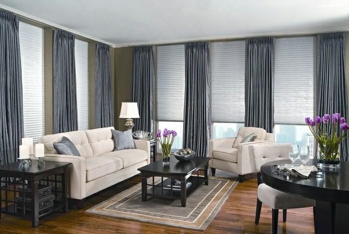 Rideaux modernes salon gris