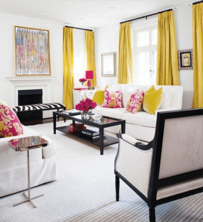 salon moderne rideaux jaune