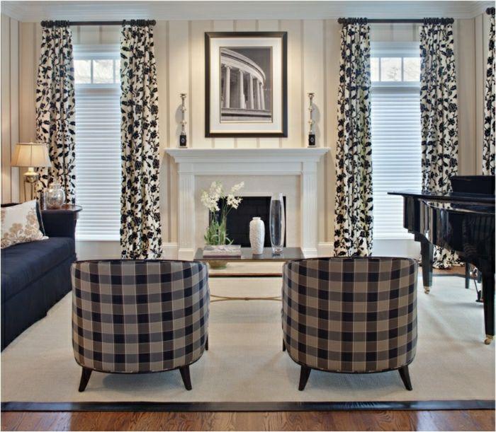 salon moderne rideaux noir blanc cheminee