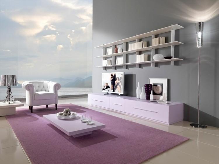 salon moderne tapis rose