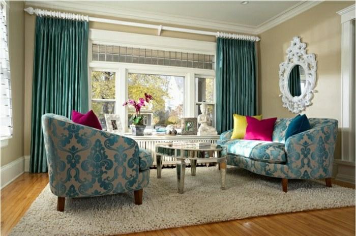 Rideaux modernes salon bleu