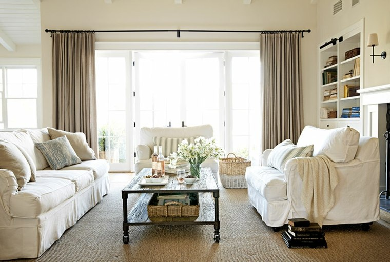 rideaux salon moderne beige canapé