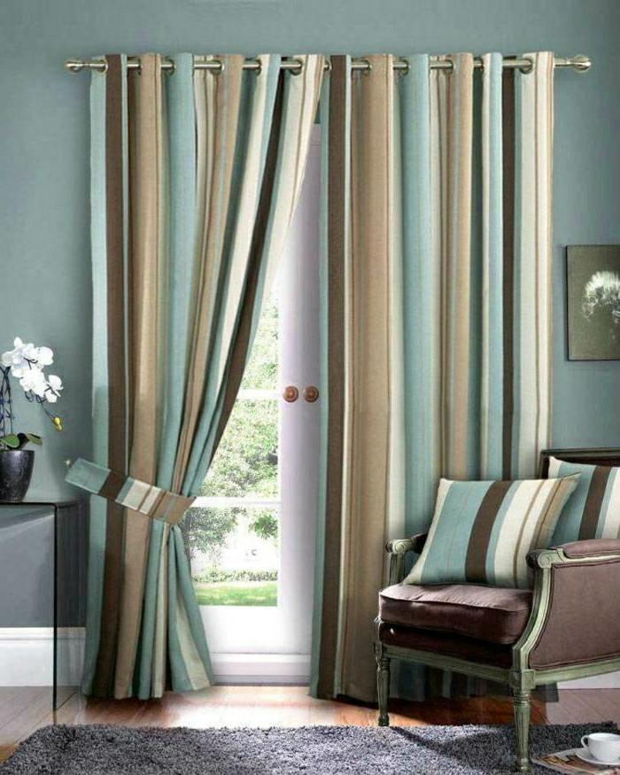 zoom rideaux salon modernes rayure verticale tons naturels
