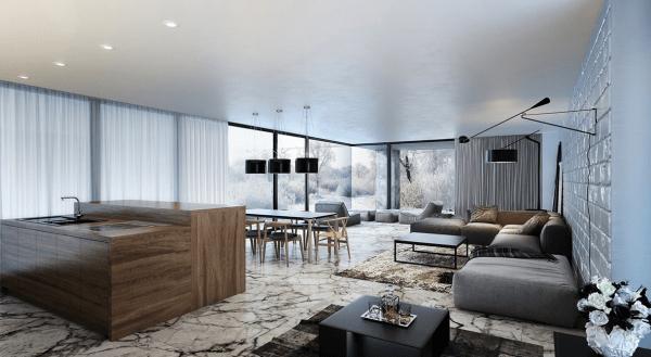 séjour moderne idée aménagement design salon canapé gris lampe