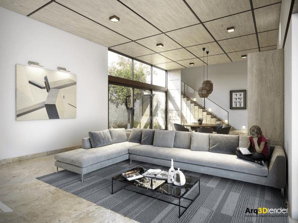 canapé gris salon tapis de sol table basse verre déco tableau mur
