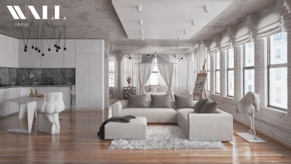 salon moderne aménagement canapé blanc coussin gris tapis de sol déco originale cheval