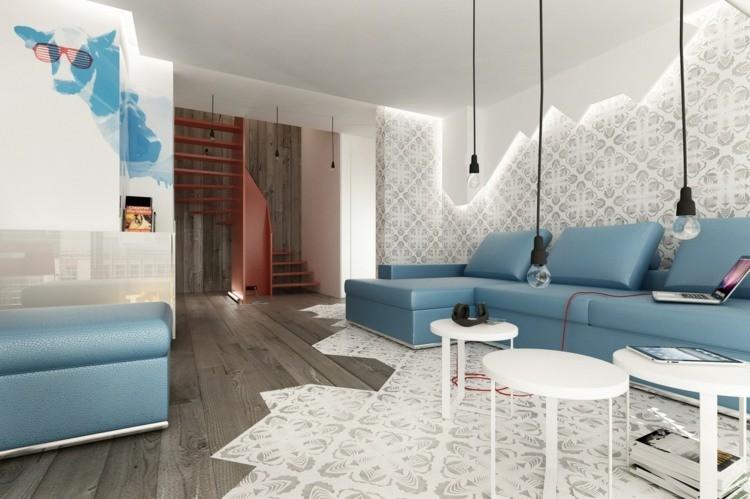 comment décorer son salon canape bleu