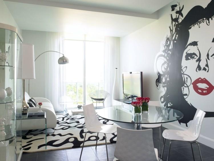 décoration salon salle à manger noir et blanc