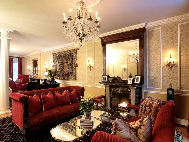 deco salon victorien mobilier rouge