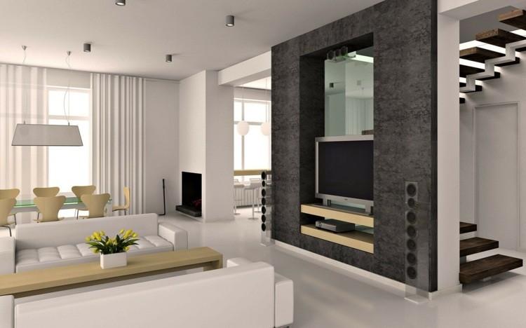 décoration intérieur salon blanc idee deco