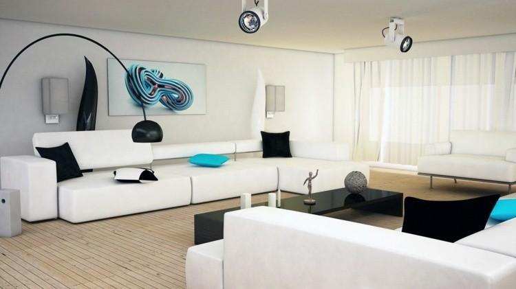 décoration intérieur salon blanc idee