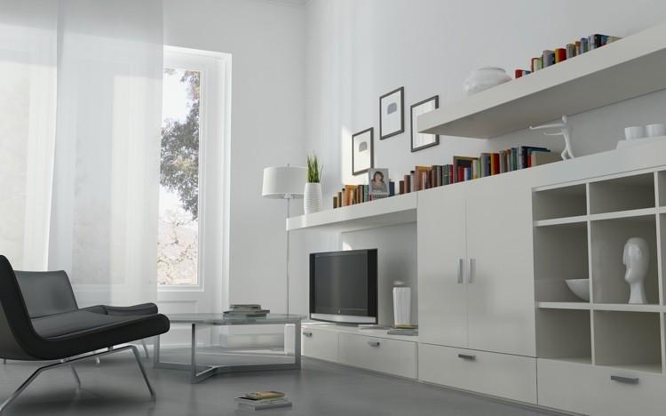 décoration intérieur salon blanc meuble tele