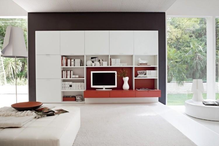 décoration intérieur salon blanc rouge