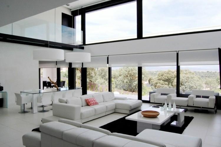 décoration intérieur salon blanc noir