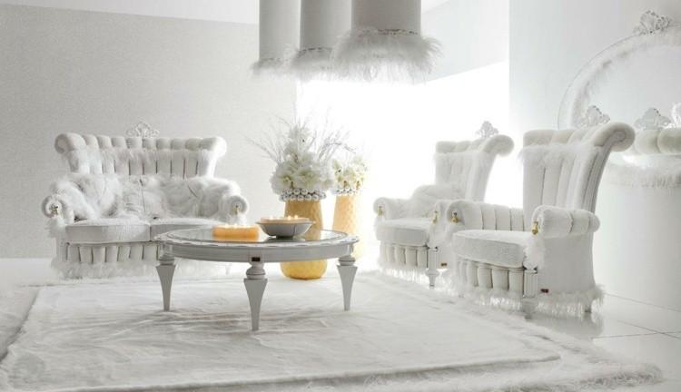 décoration intérieure salon shabby chic blanc