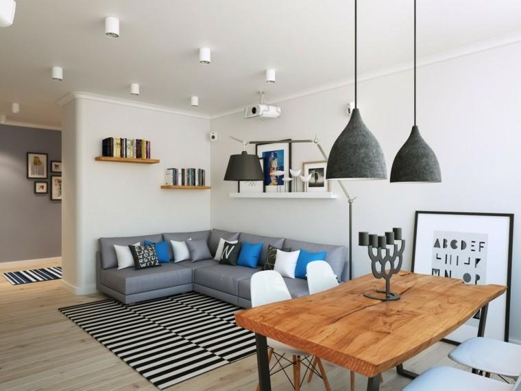 décoration salon salle à manger tapis rayures table bois canapé angle