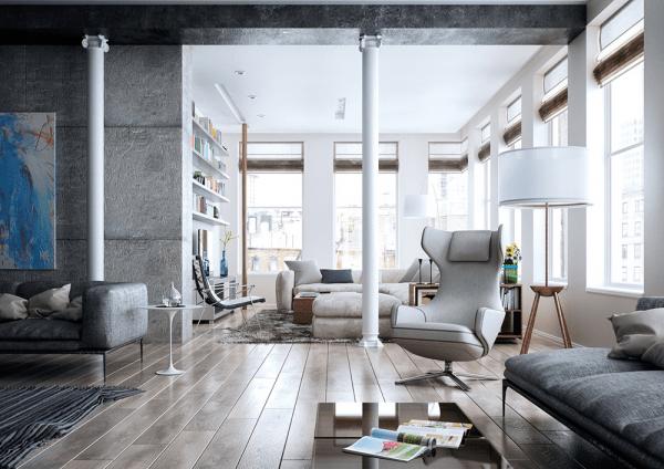 aménagement séjour idée original fauteuil blanc canapé gris table basse