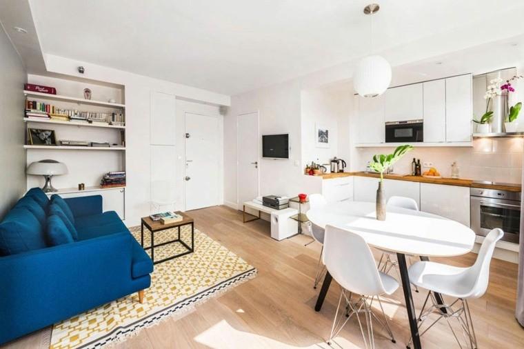 décoration salon salle à manger canapé bleu tapis sol jaune