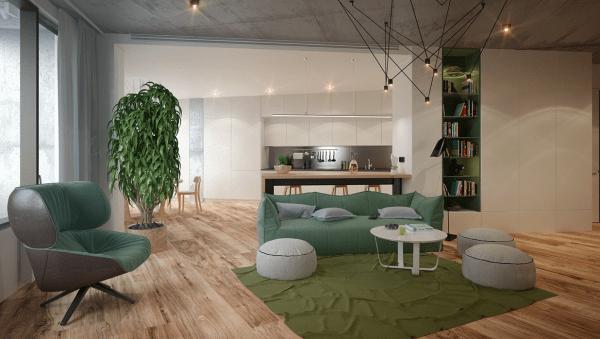 aménagement salon moderne idée fauteuil vert tapis de sol pouf blanc canapé vert lampe design déco plante
